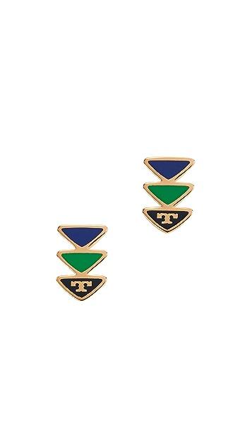 Tory Burch Geo Triangle Stud Earrings