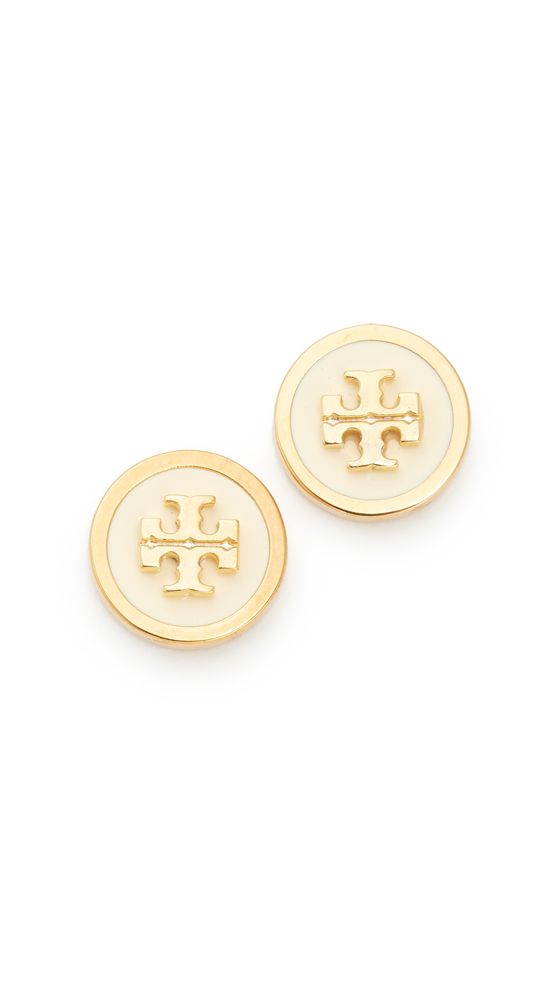 Tory Burch Raised Logo Stud Earrings - New Ivory/Tory Gold