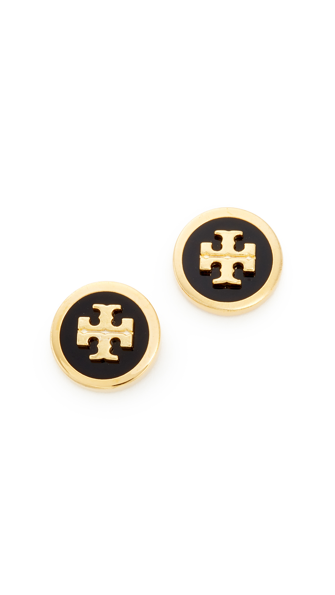 Tory Burch Raised Logo Stud Earrings - Black/Tory Gold
