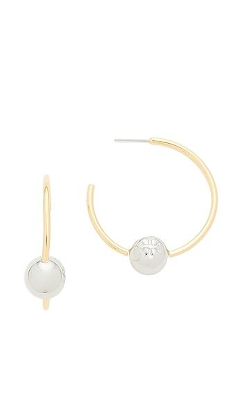 Tory Burch Logo Loop Hoop Earrings