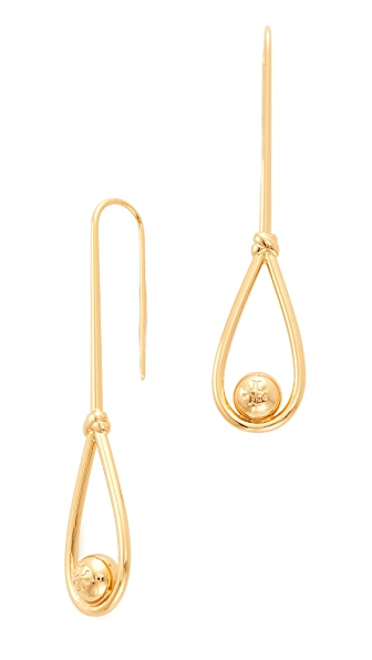 Tory Burch Logo Loop Linear Earrings In Tory Gold