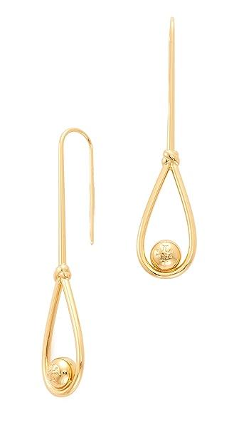 Tory Burch Logo Loop Linear Earrings