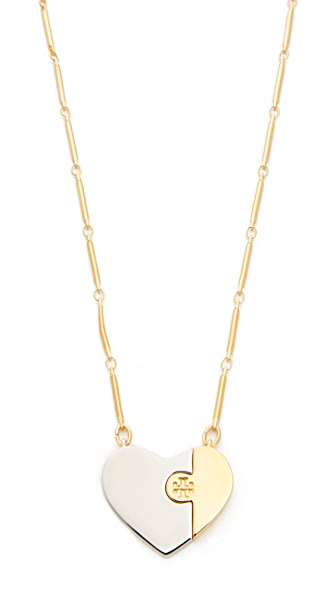 Tory Burch Puzzle Heart Necklace In Tory Gold/Tory Silver