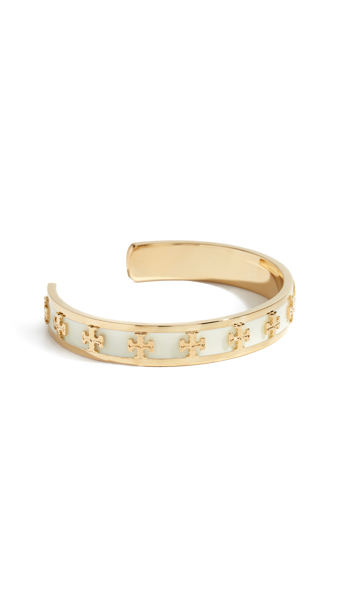 Tory Burch Enamel Raised Logo Cuff Bracelet - New Ivory/Tory Gold