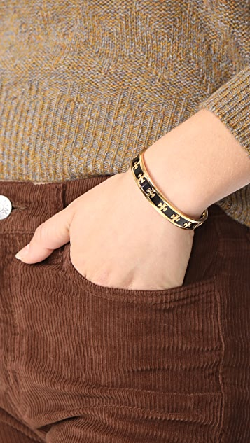 Tory Burch Enamel Raised Logo Cuff Bracelet