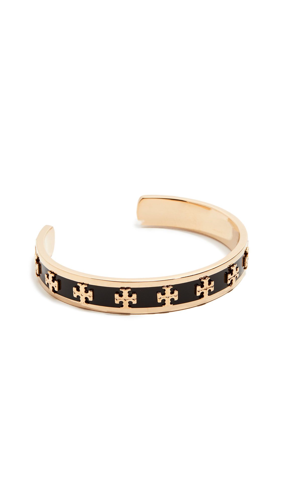 Tory Burch Enamel Raised Logo Cuff Bracelet - Black/Tory Gold