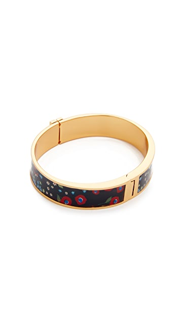 Tory Burch Raised Logo Printed Hinge Bracelet