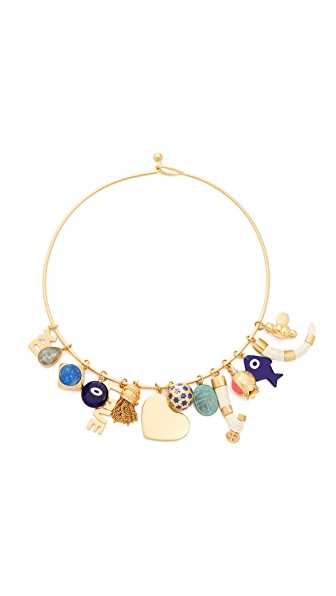 Tory Burch Charm Statement Collar Necklace In Gold Multi