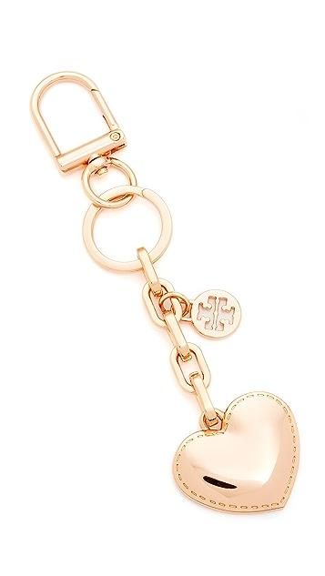 Tory Burch Logo & Heart Metal Key Fob