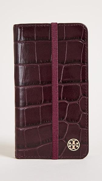 Купить Tory Burch Чехол-книжка Parker для iPhone 7/8 с тиснением под крокодила TORYB45881 портвейн