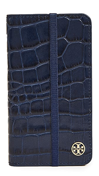 Tory Burch Parker Croc Folio iPhone 7 / 8 Case In Tory Navy
