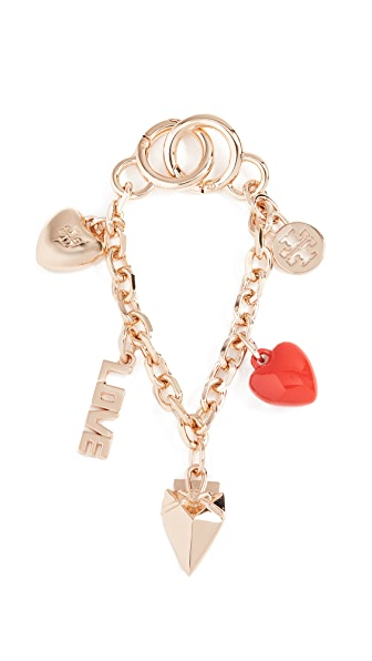 Tory Burch Heart Chain Key Chain In Gold