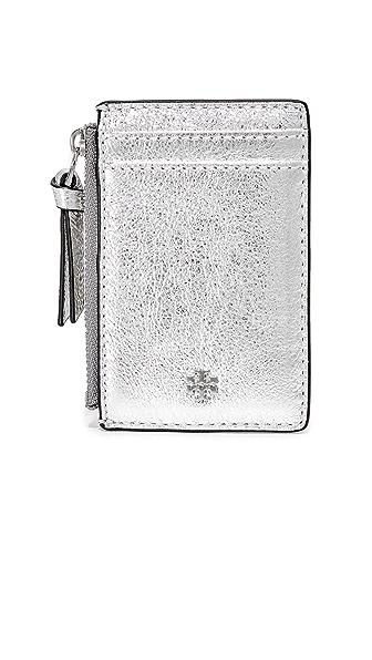 Tory Burch Metallic Zip Card Case