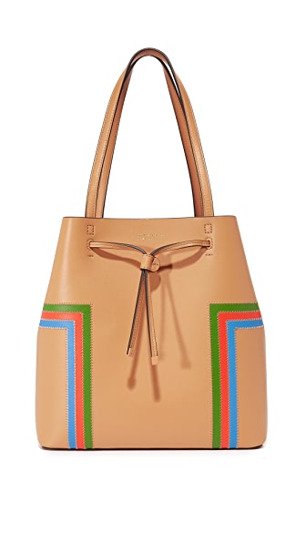 Tory Burch Block-T Stripe Drawstring Tote