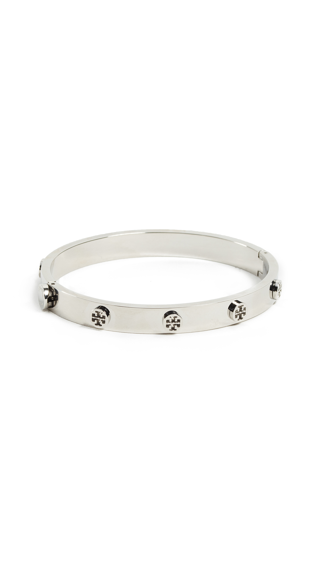 Tory Burch Logo Stud Hinge Bracelet - Tory Silver