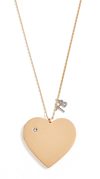 Tory Burch Heart Locket Pendant Necklace In Vintage Gold