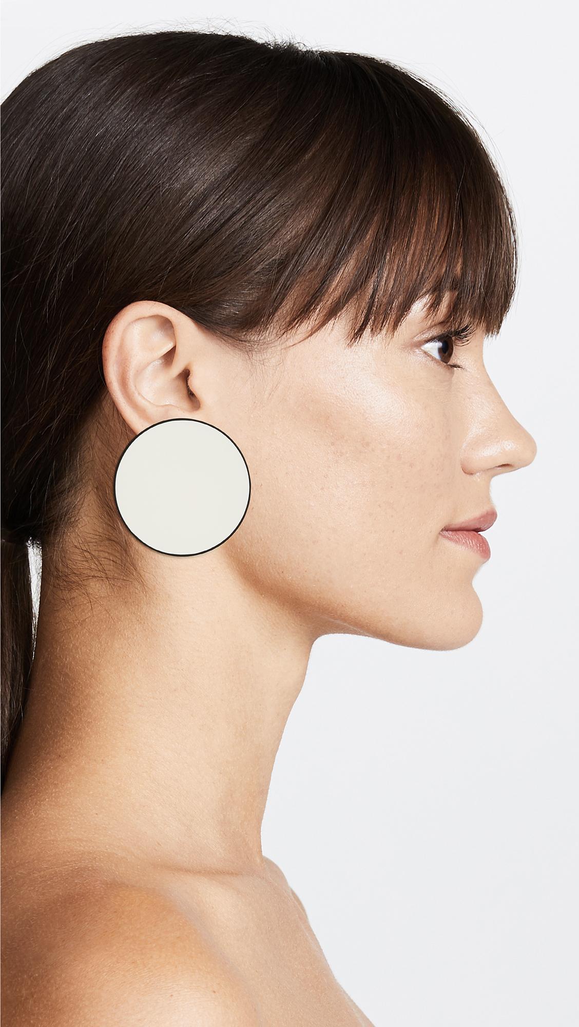 Tory Burch Enamel Disk Earrings - New Ivory/Brass