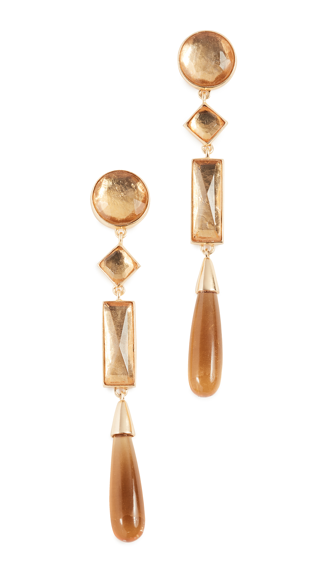 Tory Burch Embellished Linear Earrings - Light Topaz/Tory Gold