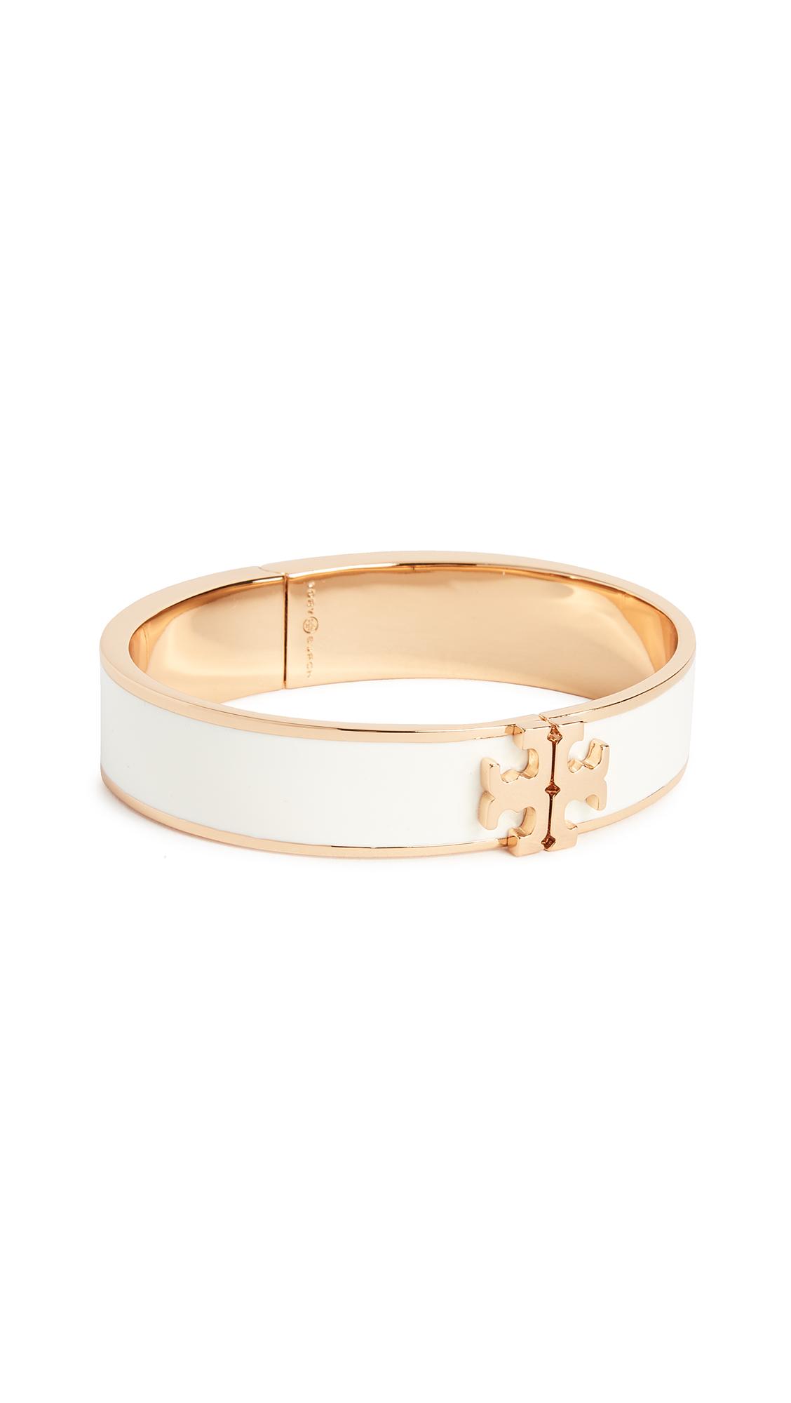 Tory Burch Logo Thin Enamel Hinged Bracelet - Ivory/Gold