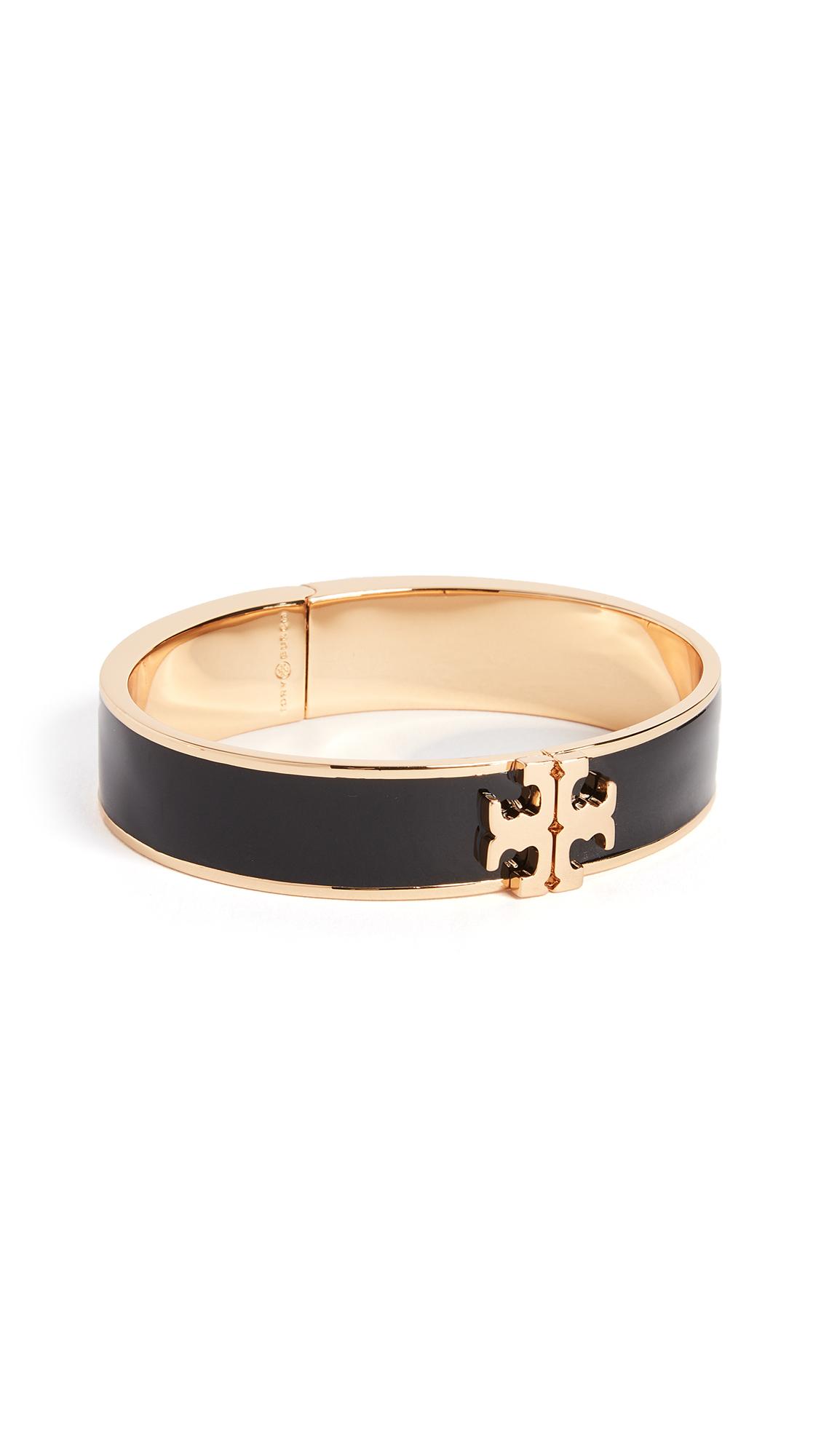 Tory Burch Logo Thin Enamel Hinged Bracelet - Black/Gold