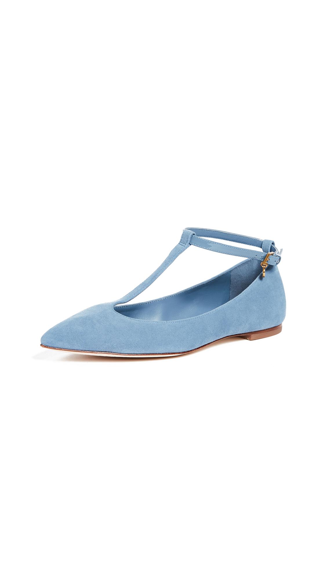Tory Burch Ashton T-Strap Flats - Blue Yonder/Blue Yonder