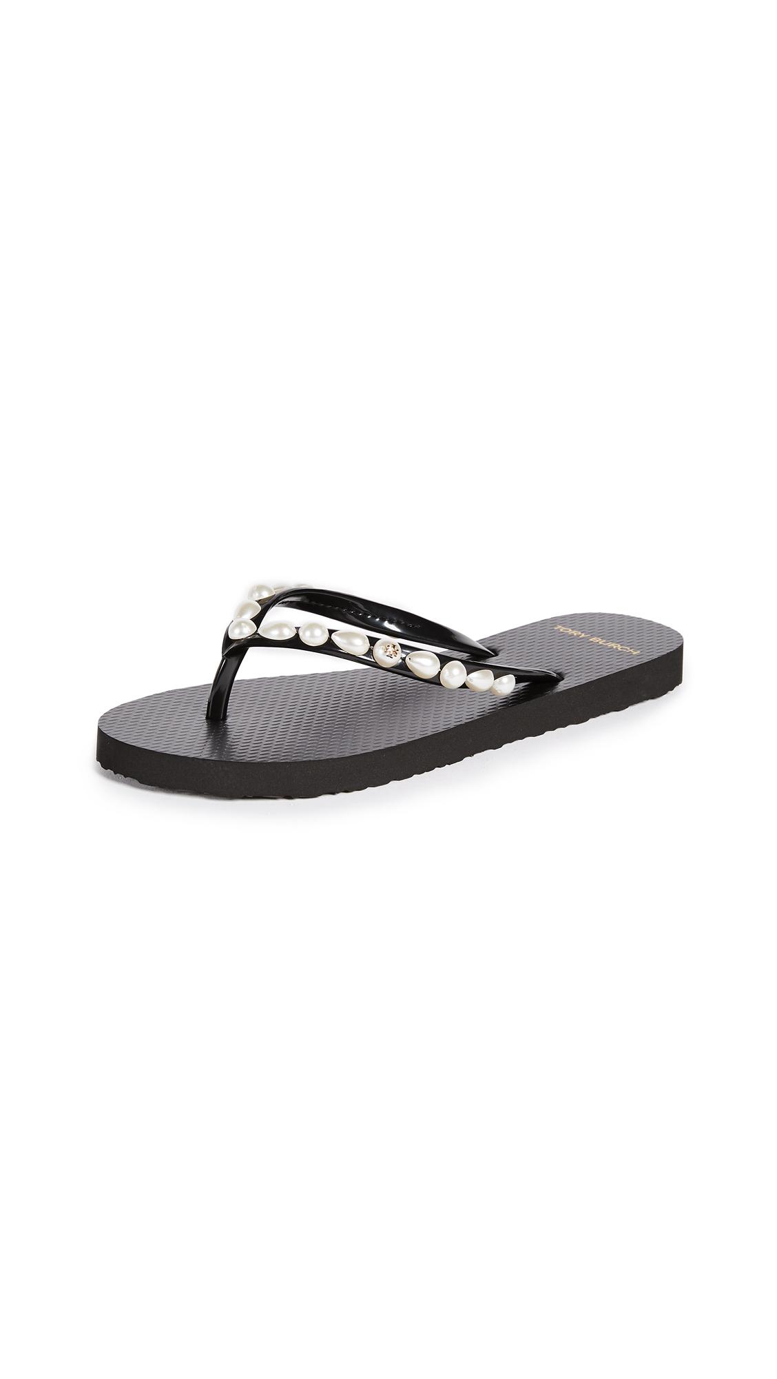 Tory Burch Jeweled Thin Flip Flops - Black