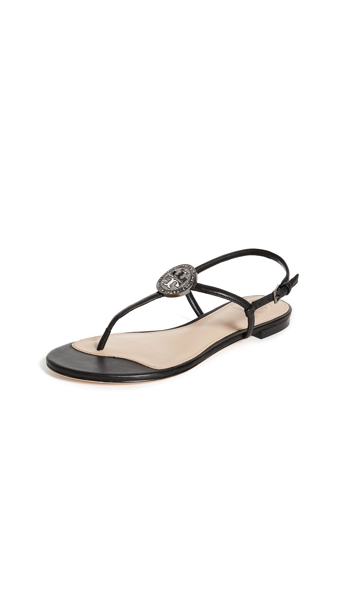 Tory Burch Liana Flat Sandals - Black