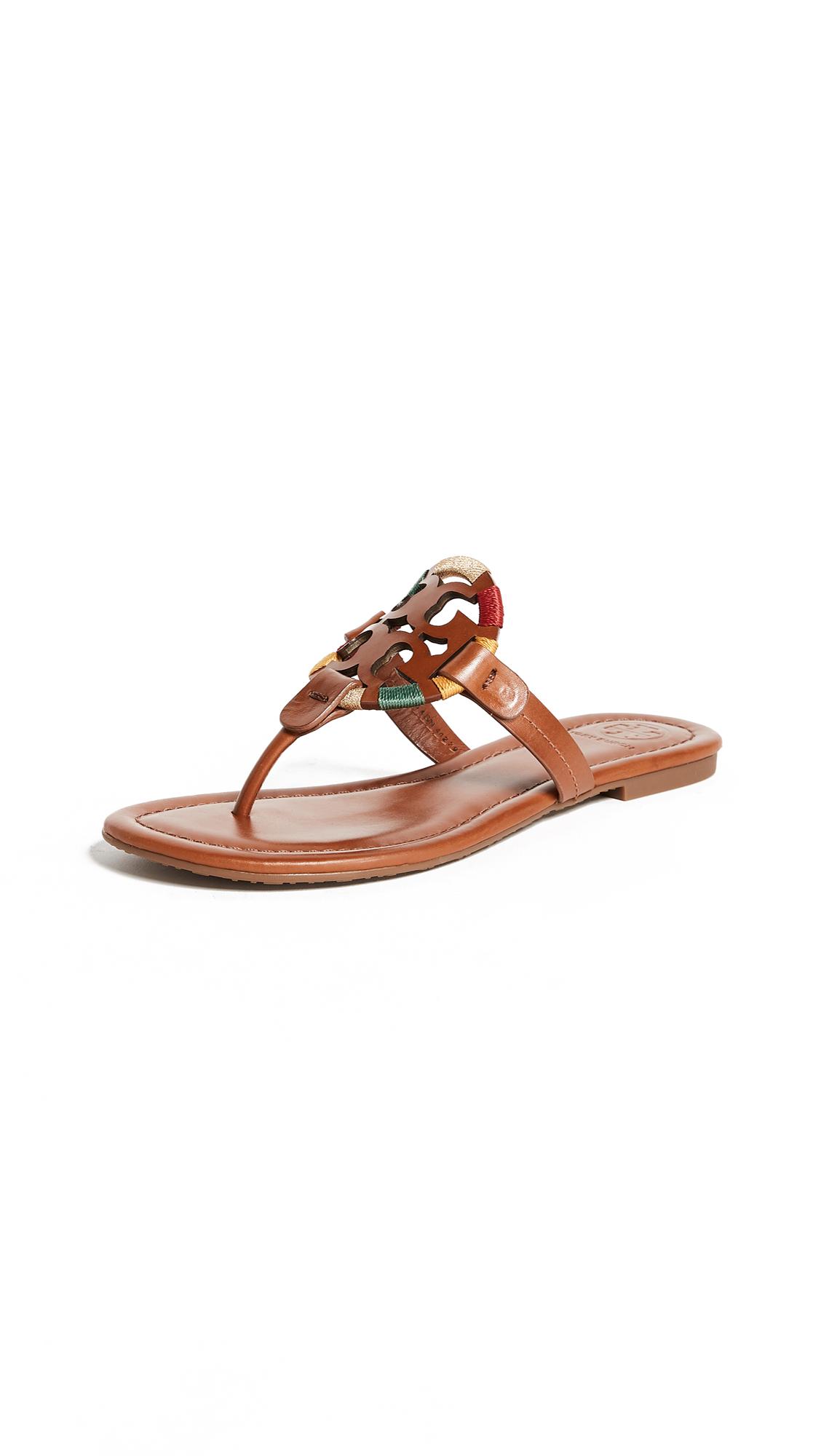 Tory Burch Miller Embroidered Sandals - Vintage Vachetta/Multi