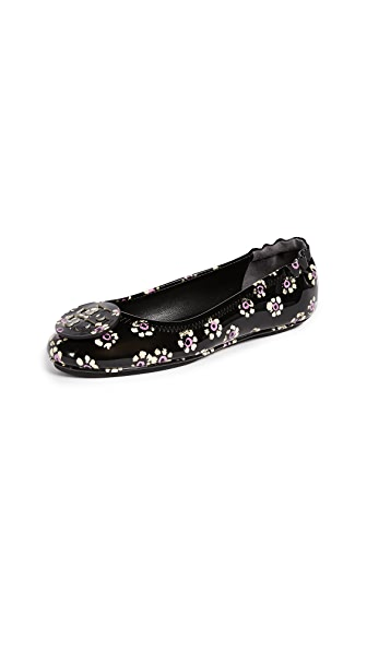 Tory Burch Minnie Travel Ballet Flats with Printed Logo In Black Stamped Floral