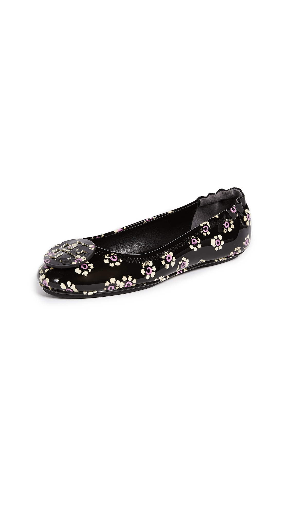 Tory Burch Minnie Travel Ballet Flats - Black Stamped Floral