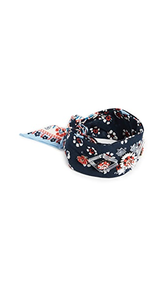 Tory Burch Embellished Bandana Necktie In Navy Floral