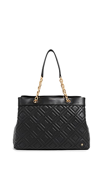 Tory Burch Fleming Triple Compartment Tote In Black