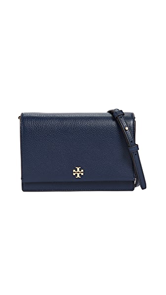 Tory Burch Georgia Pebbled Leather Cross Body Bag In Royal Navy