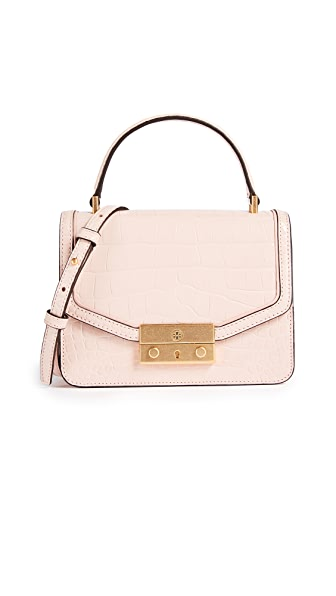 Tory Burch Juliette Croc Mini Top Handle Cross Body Bag In Clay Pink