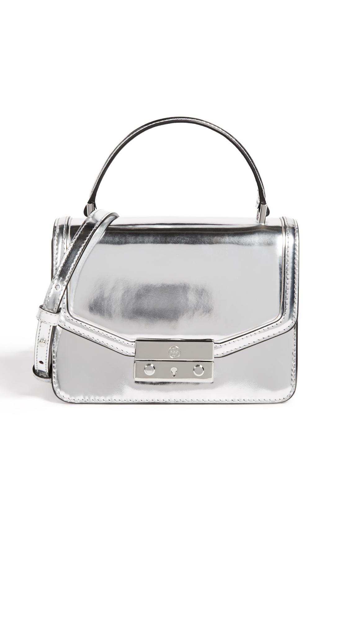 Tory Burch Juliette Metallic Mini Top Handle Satchel - Silver