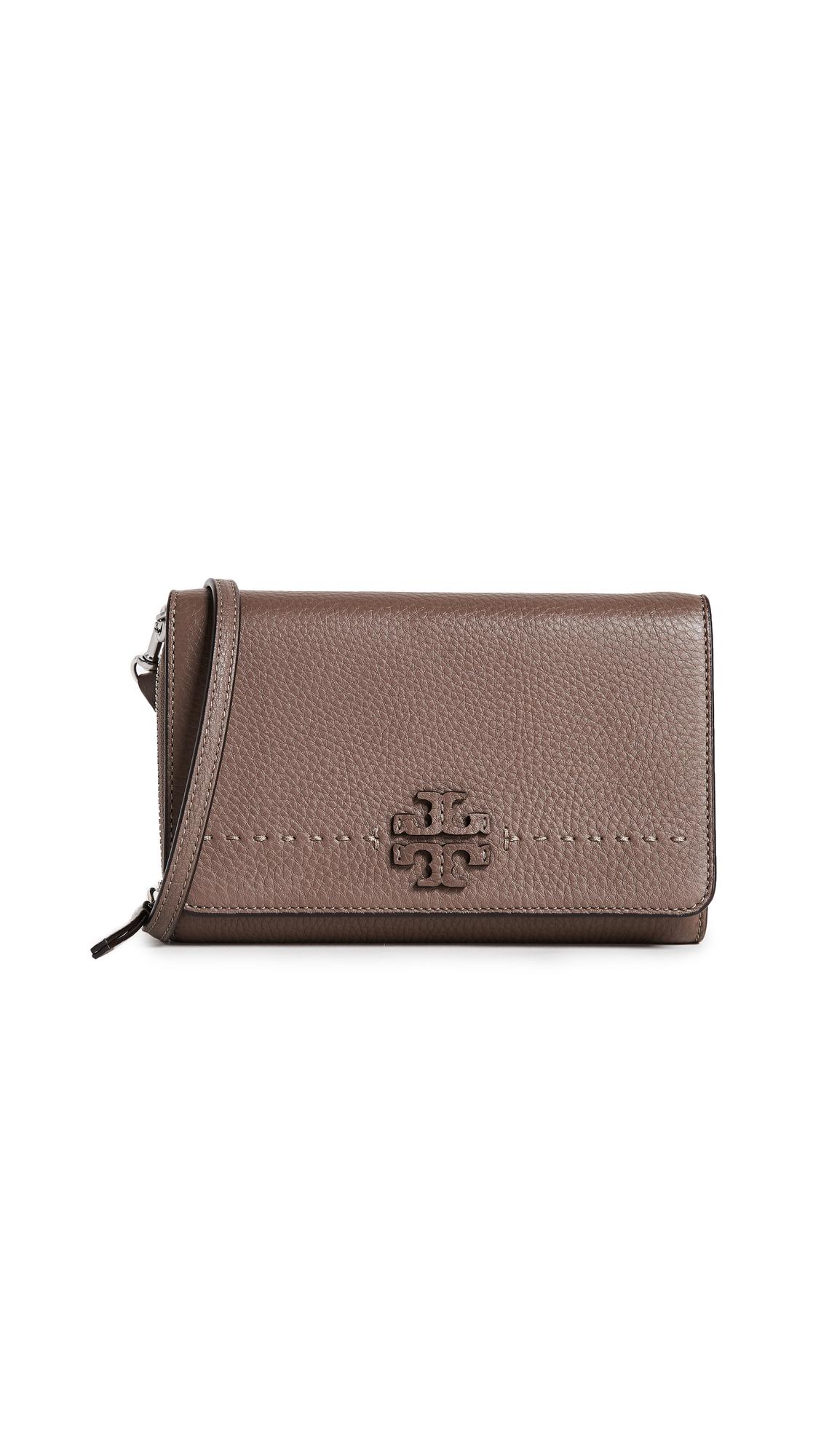 Tory Burch McGraw Flat Cross Body Bag - Silver Maple
