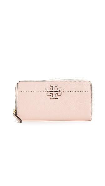 Tory Burch McGraw Zip Continental Wallet In Pink Quartz