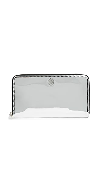 Tory Burch Robinson Zip Continental Wallet In Silver Specchio