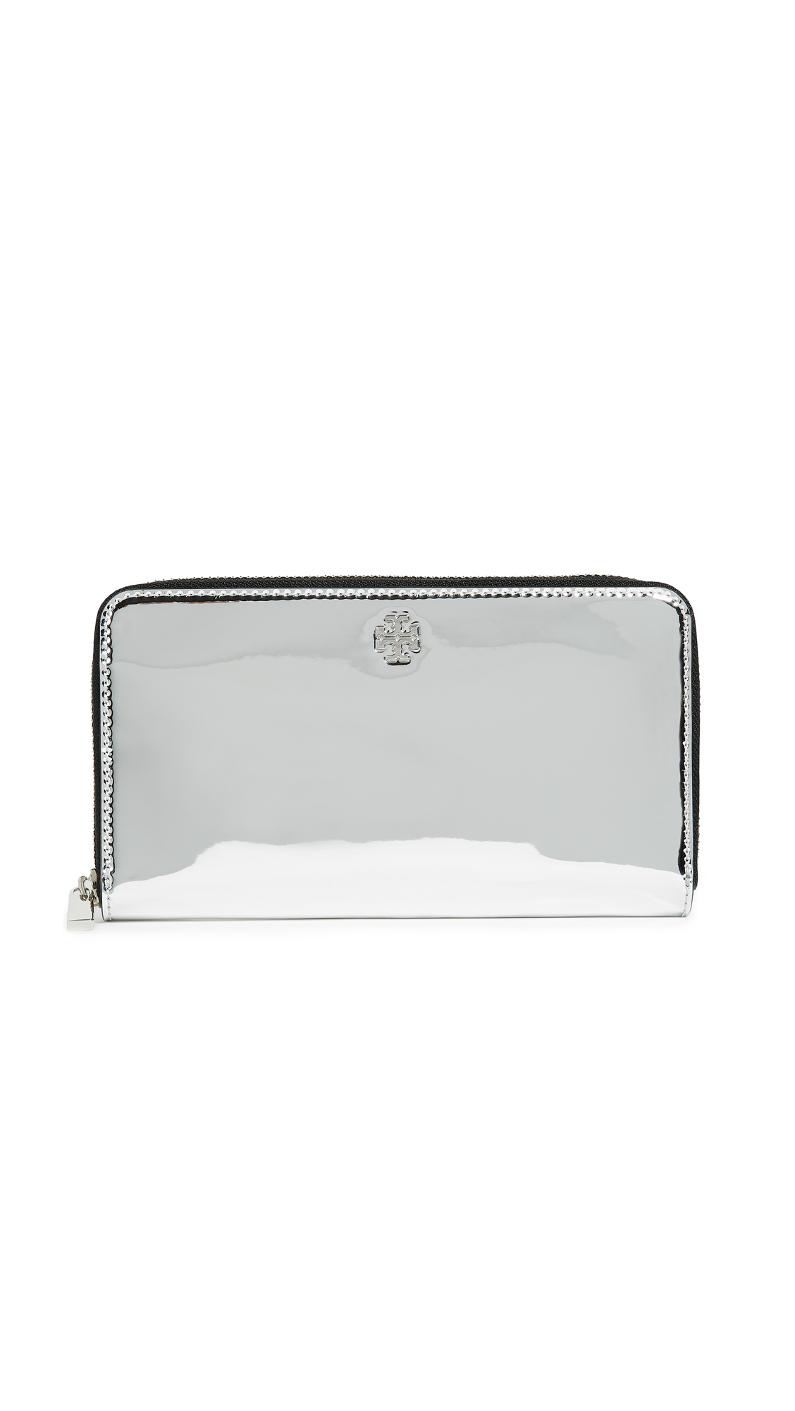 Tory Burch Robinson Zip Continental Wallet - Silver Specchio