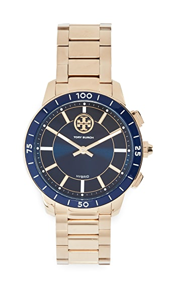 Tory Burch Collins Hybrid Watch, 38mm In Navy/Gold
