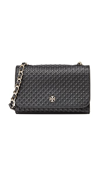 Tory Burch Marion Embossed Shrunken Shoulder Bag - Black