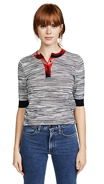 Tory Burch Arielle Henley In Tory Navy/New Ivory/Red