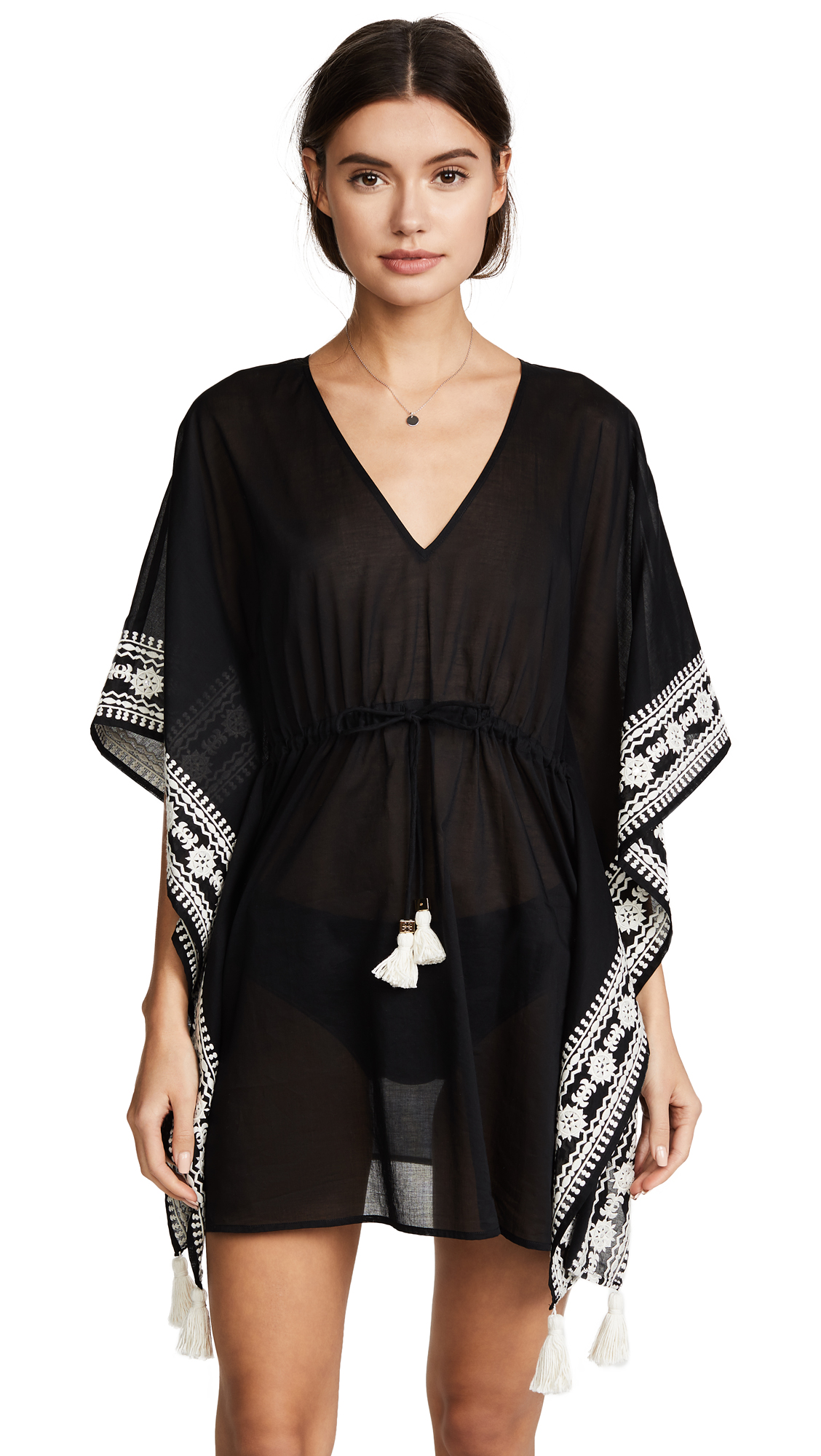 Tory Burch Embroidered Short Caftan - Black
