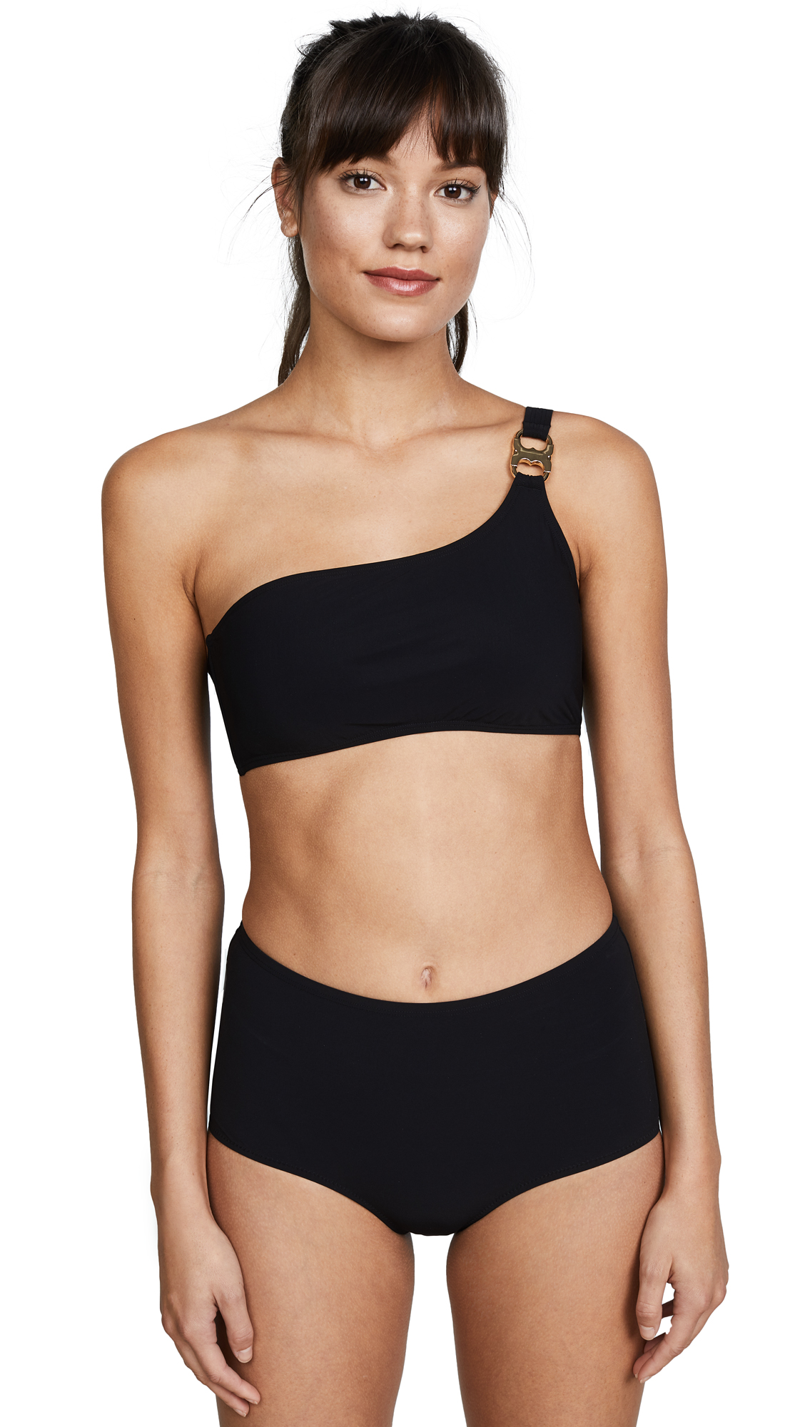 Polished hardware One-shoulder top Hook-and-eye at back Padded cups Wireless Lined Shell: 72% nylon/28% lycra spandex Hand wash Imported, China Bottoms sold separately