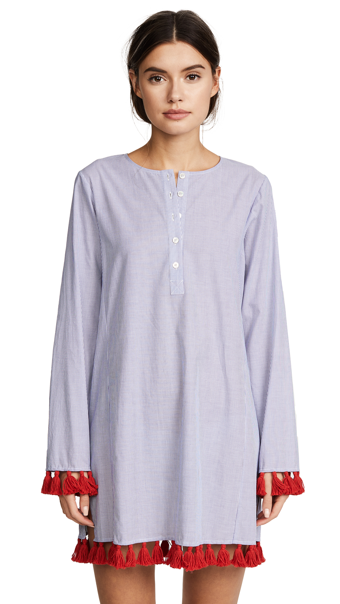 Tory Burch Tassel Cover Up Tunic - Blue/White
