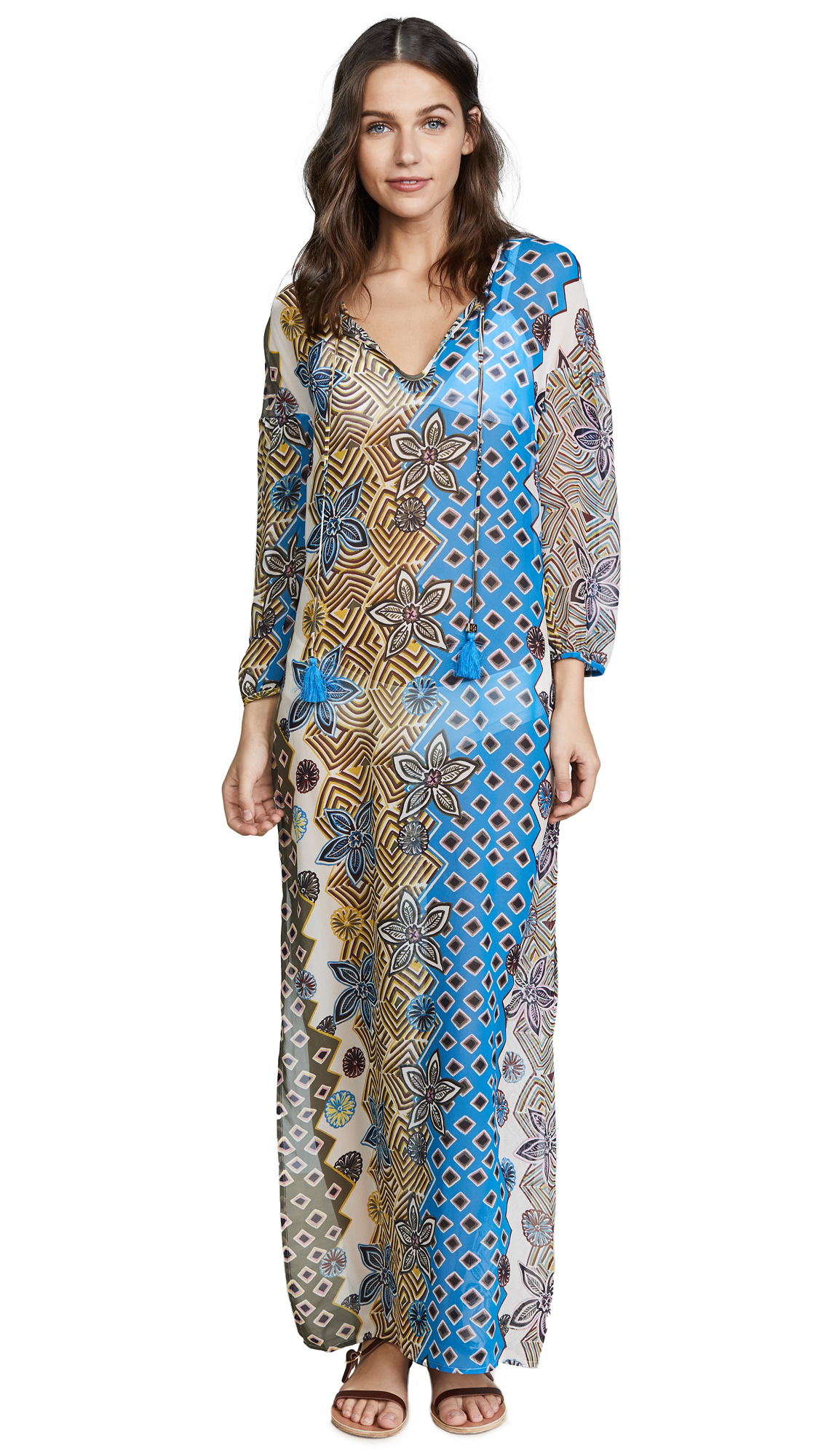 Tory Burch Jasmine Floral Long Caftan - Jasmine Floral Print