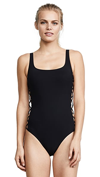 Tory Burch Lace Up Tank Swimsuit In Black