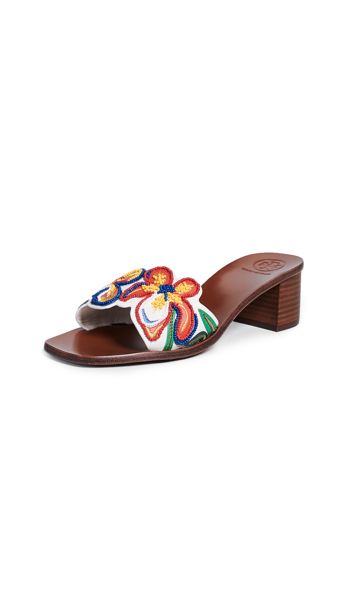 Tory Burch Bianca 45mm Slides - Perfect Ivory/Multi