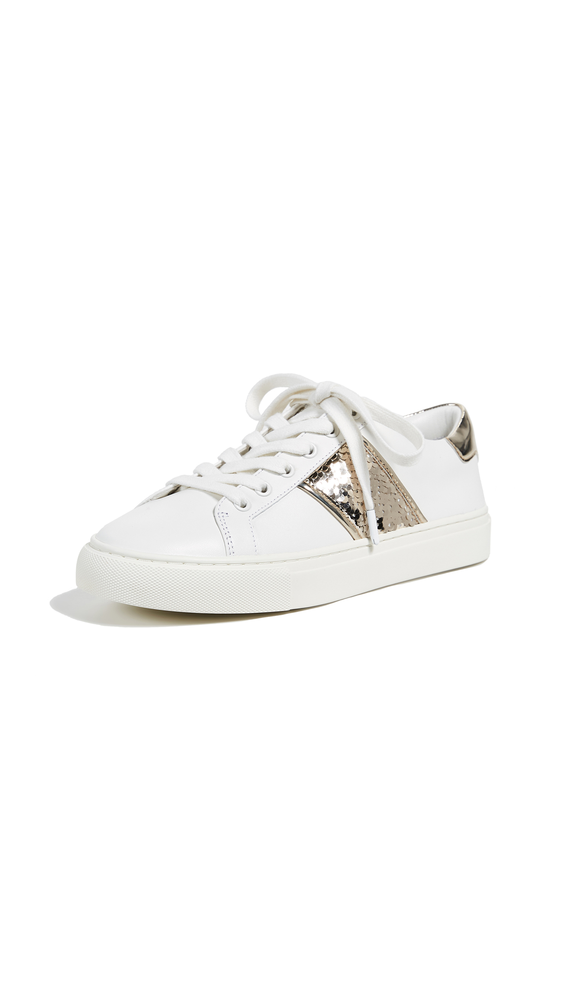 Tory Burch Carter Lace Up Sneakers - Snow White/Spark Gold