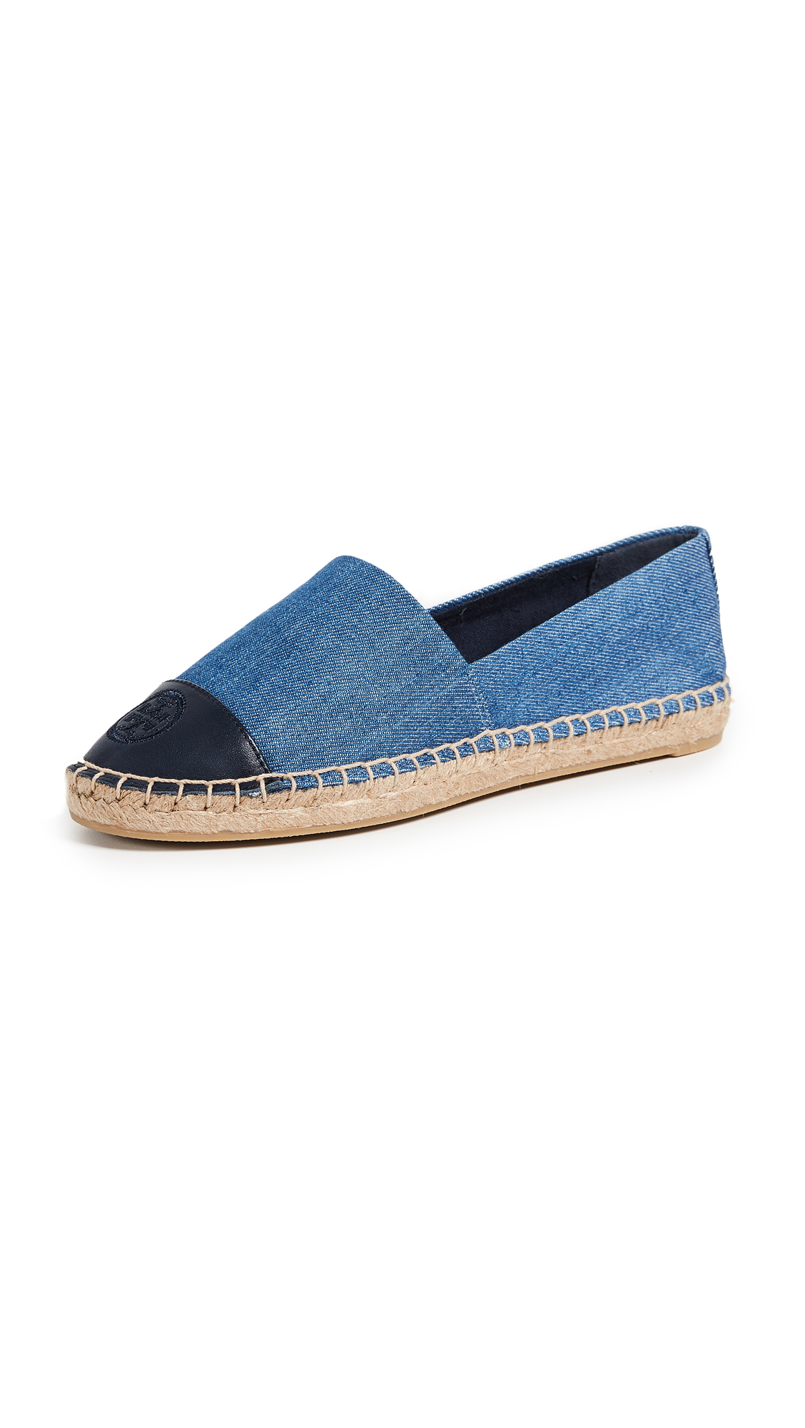 Tory Burch Denim Flat Espadrilles - Denim Chambray/Perfect Navy